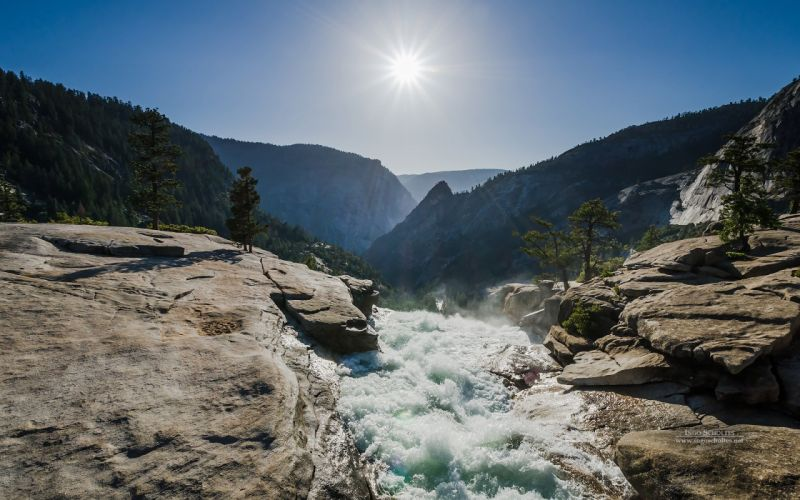 USA Mountains Stones Water Parks Sun Yosemite Nevada Fall Nature wallpaper