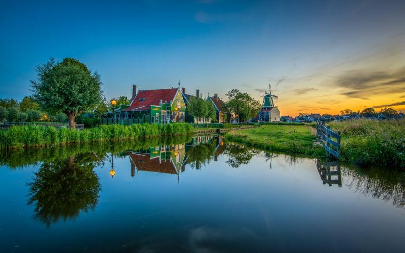 Netherlands Houses Evening Zaanse Schans Nature f wallpaper