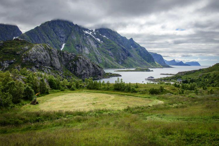 Norway Scenery Mountains Lake Grass Lofoten Islands Nature wallpaper