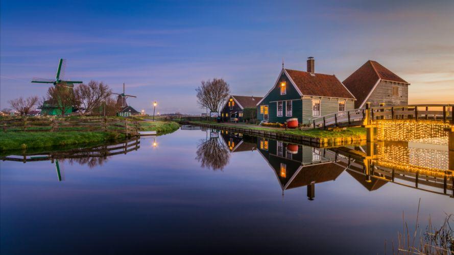 Netherlands Houses Evening Zaanse Schans Nature wallpaper
