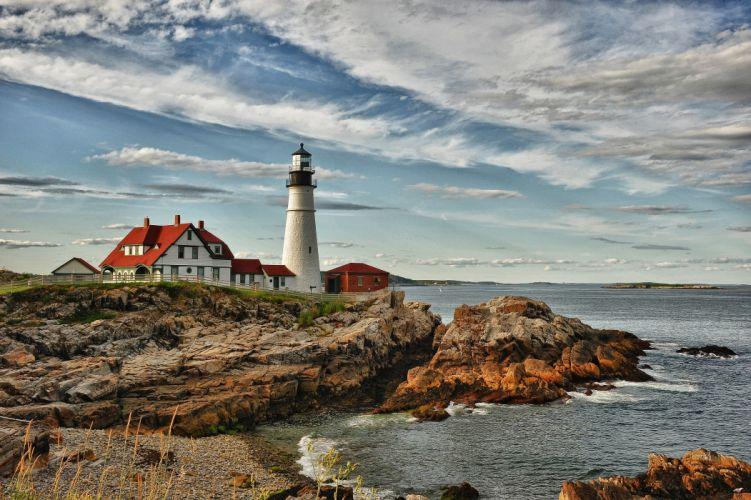 Scenery Lighthouses Coast Sky Nature wallpaper