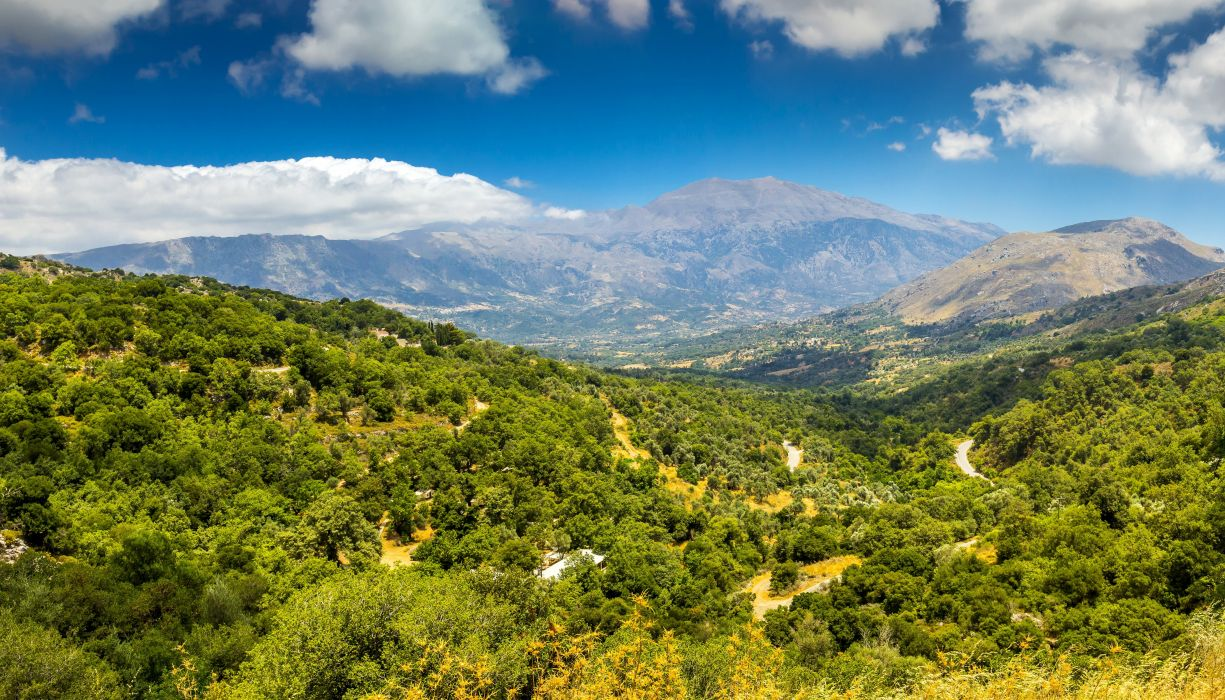 Scenery Mountains Forests Clouds Crete Nature wallpaper