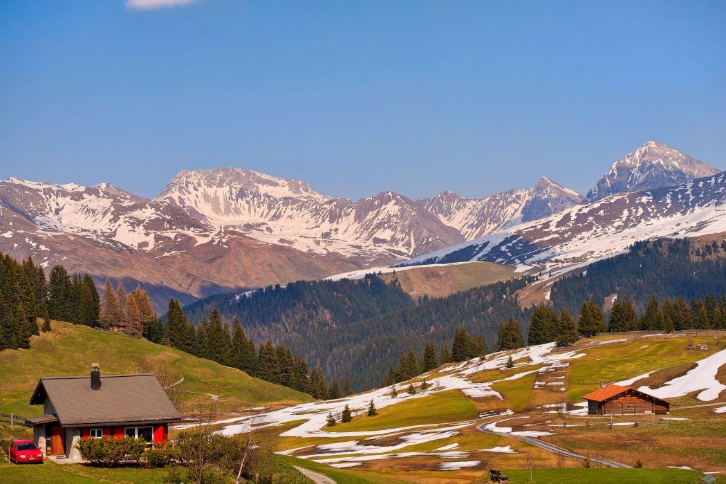 Scenery Switzerland Mountains Houses Grasslands Jakobshorn Davos Nature wallpaper