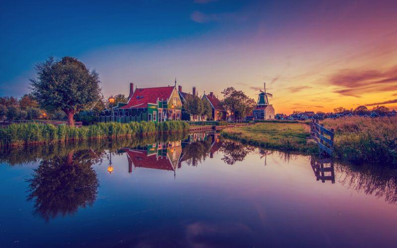 Netherlands Evening Houses Zaanse Schans Nature wallpaper