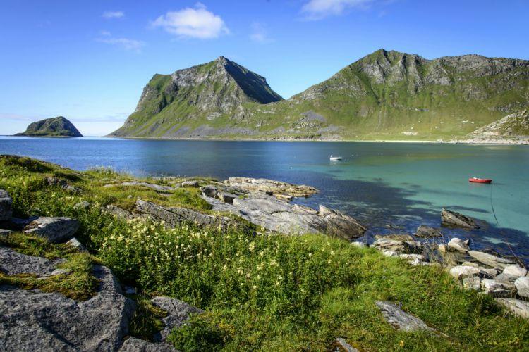 Norway Scenery Mountains Lake Lofoten Islands Nature wallpaper