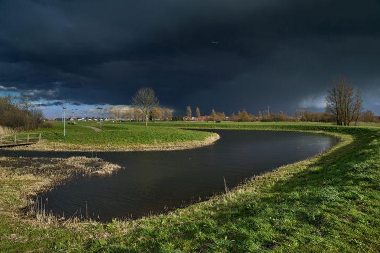 Netherlands Rivers Grass Thundercloud Heemskerk Nature wallpaper