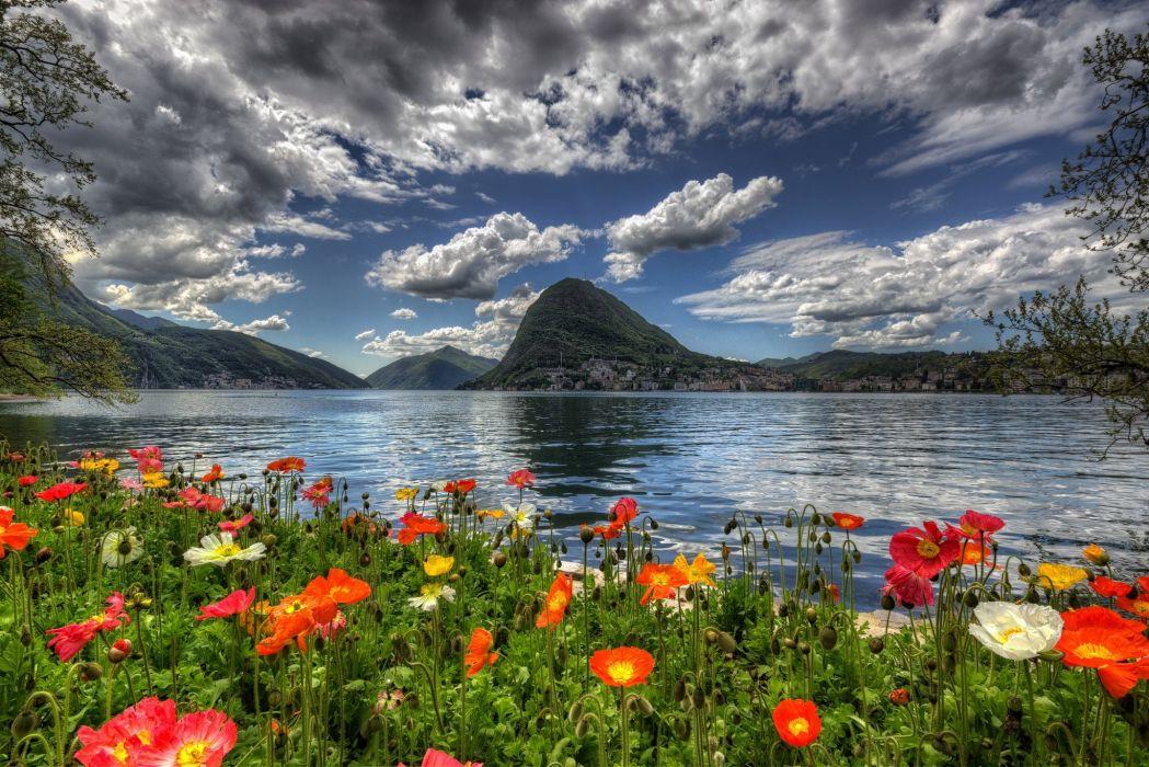 Switzerland Sky Scenery Mountains Poppies Lake Clouds HDR Lugano Nature wallpaper