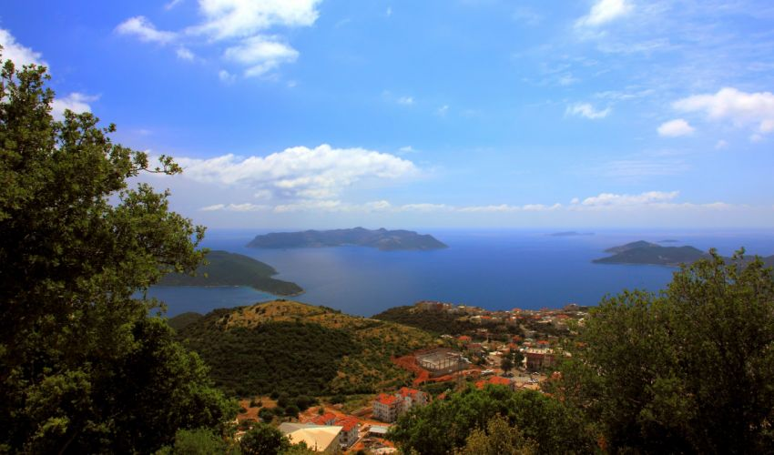 Turkey Scenery Sea Sky Houses Coast Kalkan Nature wallpaper
