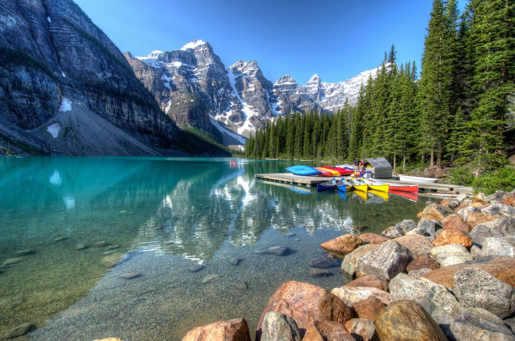 Canada Parks Mountains Lake Stones Boats Forests Scenery Banff Moraine Lake Nature wallpaper