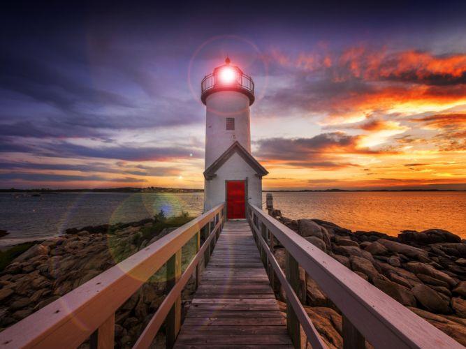 Coast Lighthouses Sunrises and sunsets Sky Nature wallpaper