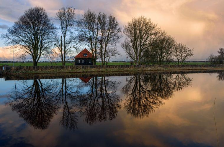 Netherlands Rivers Evening Houses Trees Oudendijk Nature wallpaper
