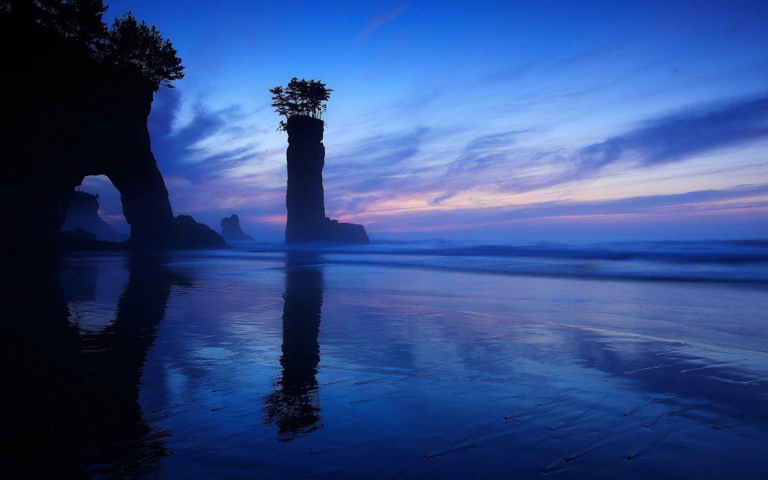 Sea Island Sky Night Crag Nature wallpaper