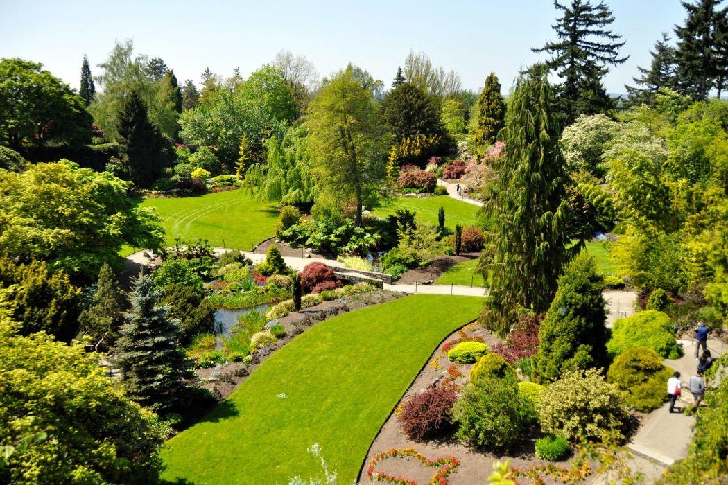 Canada Gardens Vancouver Shrubs Trees Lawn Queen Elizabeth Garden Nature wallpaper