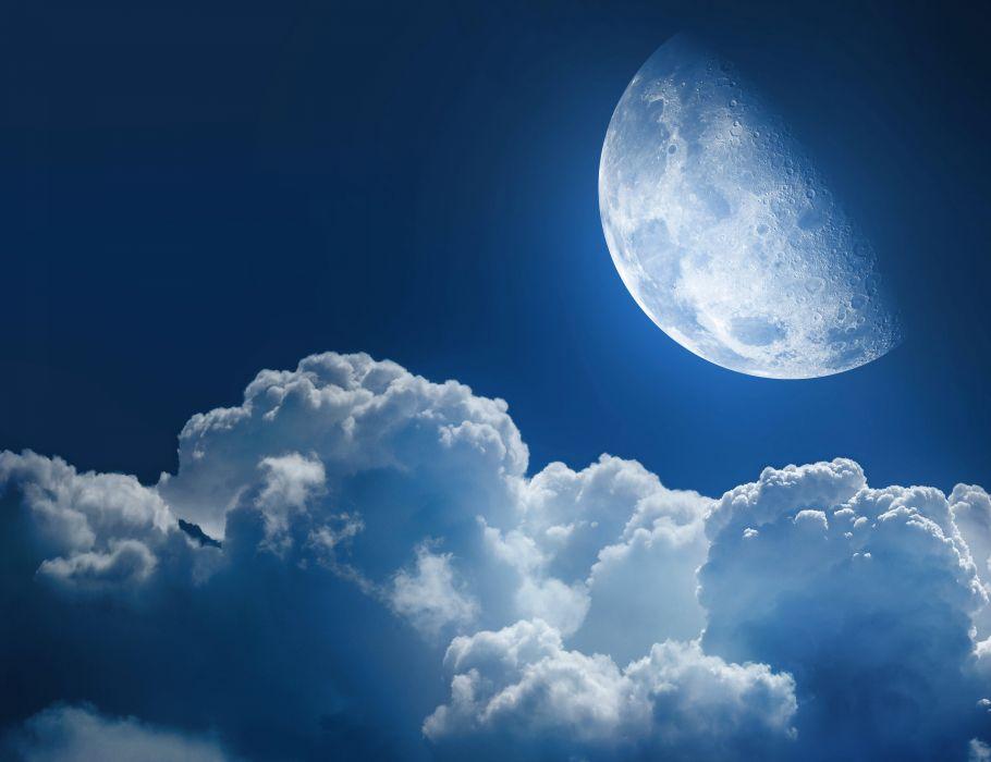 Sky Moon Clouds Nature wallpaper