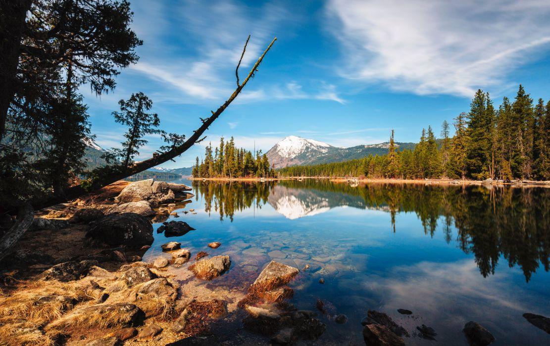 Scenery USA Lake Stones Sky Forests Washington Lake Wenatchee Nature wallpaper