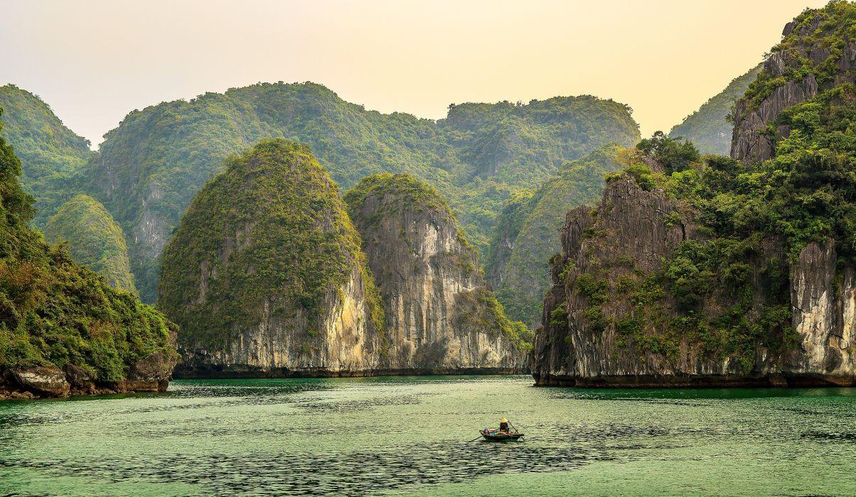 Sea Mountains Cove Ha Long Bay Vietnam Nature wallpaper