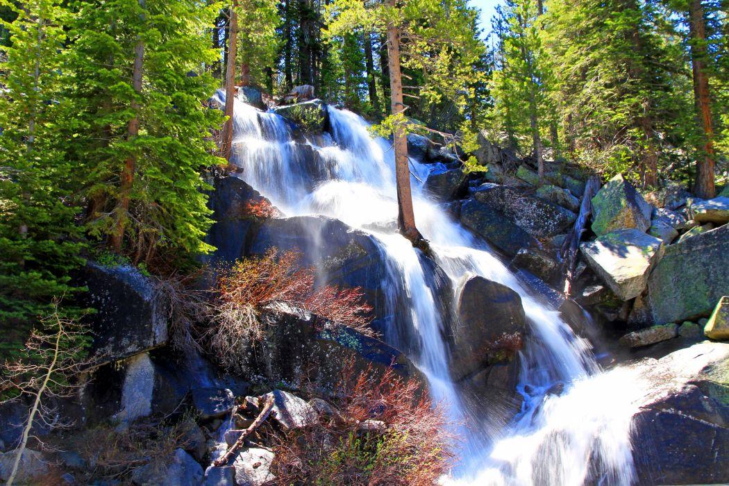 USA Parks Waterfalls Stones Yosemite Trees Nature wallpaper