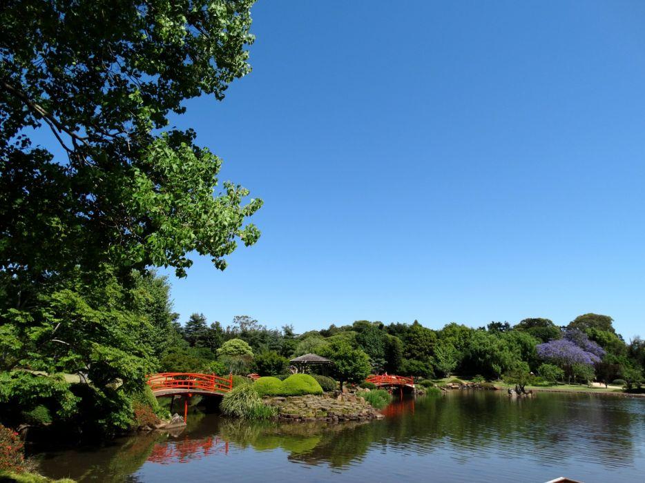 Australia Parks Pond Bridges Japenese Garden Toowoomba