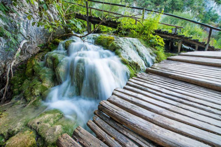 Waterfalls Bridges Moss Nature wallpaper