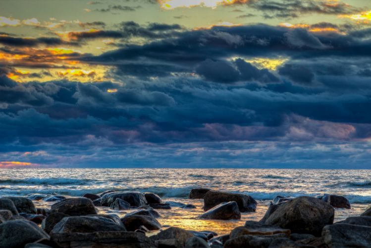 Finland Sunrises and sunsets Sky Stones Coast Thundercloud Gulf of Bothnia Baltic Sea Nature wallpaper