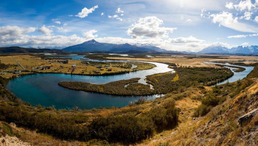 Chile Scenery Rivers Sky Clouds Serrano River Patagonia Nature wallpaper