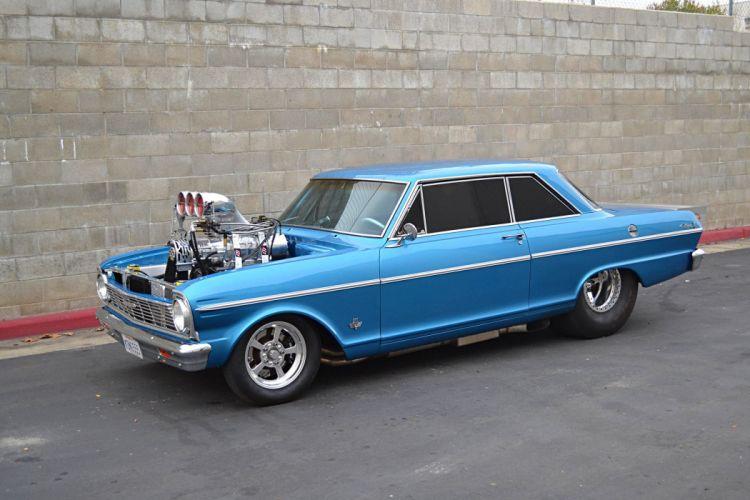 1965 chevy Nova supercharger modified cars blue wallpaper