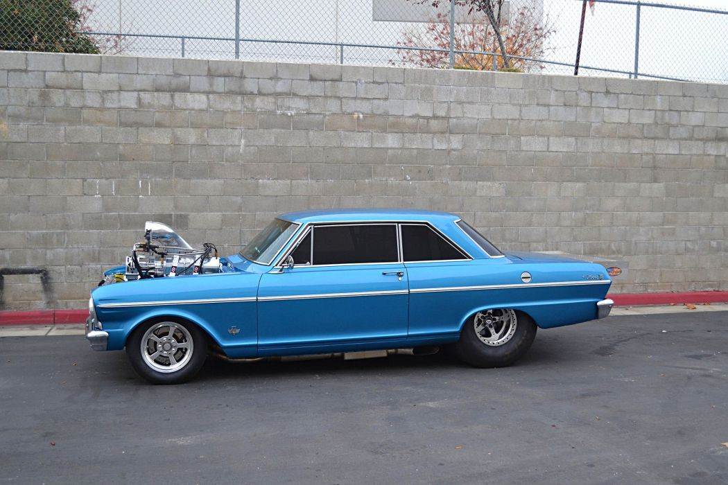 1965 chevy Nova supercharger modified cars blue wallpaper