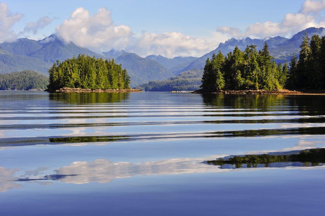 Canada Scenery Lake Island Mountains Ucluelet Nature wallpaper
