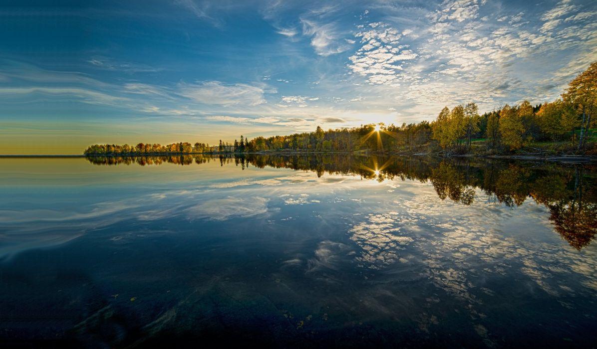 Norway Sunrises and sunsets Sky Coast Lake Maridalsvannet lake Maridalen Nature wallpaper