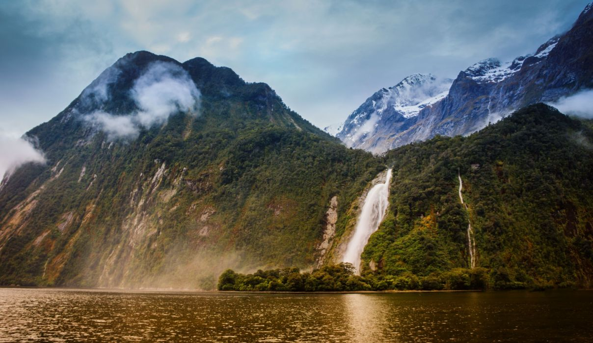 New Zealand Mountains Waterfalls Lady Bowen Falls Bowen River Milford Sound Nature wallpaper