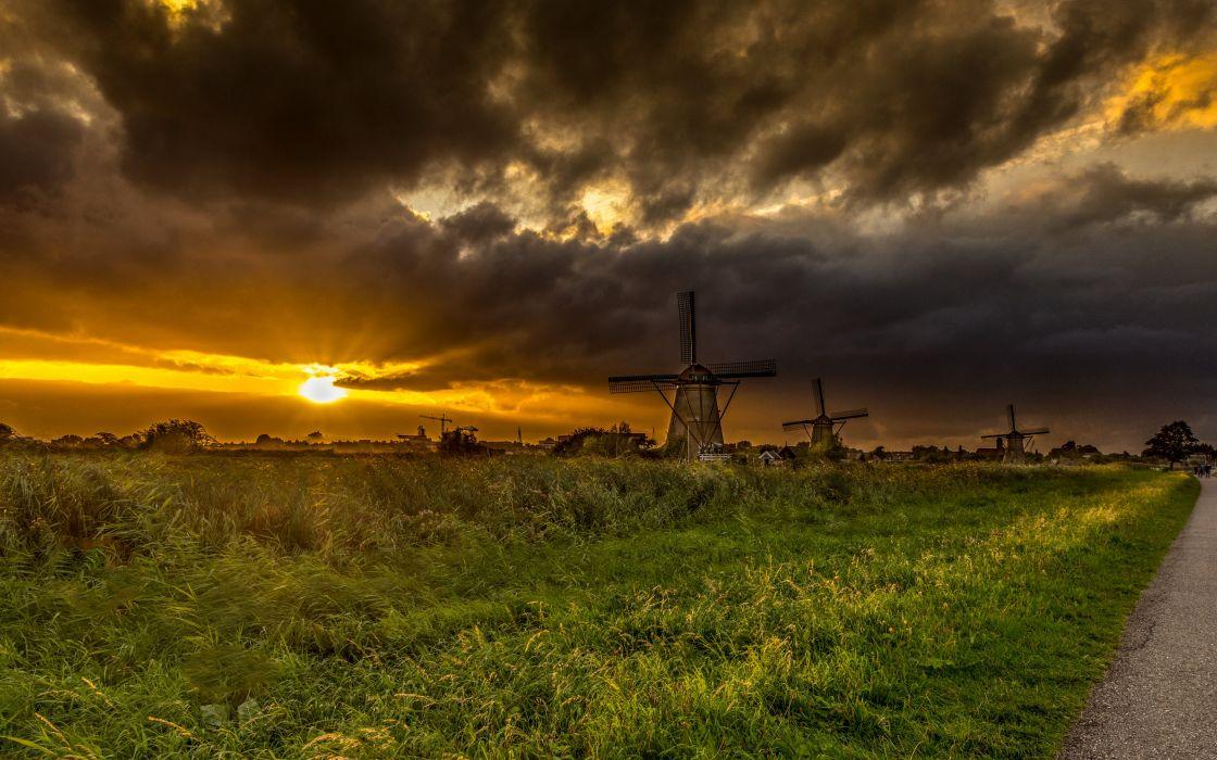 Netherlands Sunrises and sunsets Fields Sky Mill Kinderdijk Nature wallpaper