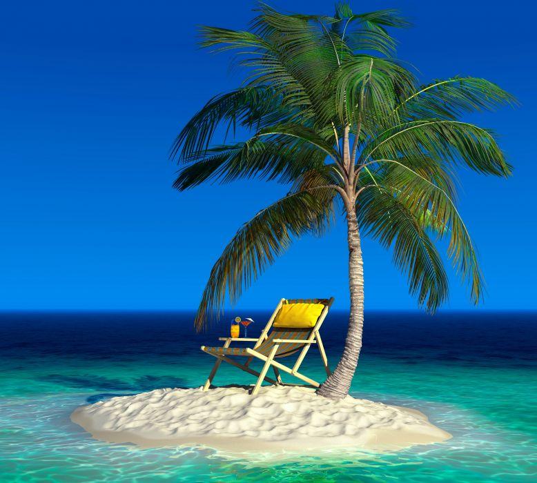 Tropics Island Palma Chairs Nature wallpaper