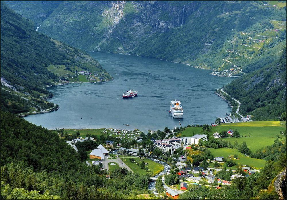 Norway Mountains Lake Houses Ships Geiranger Nature wallpaper