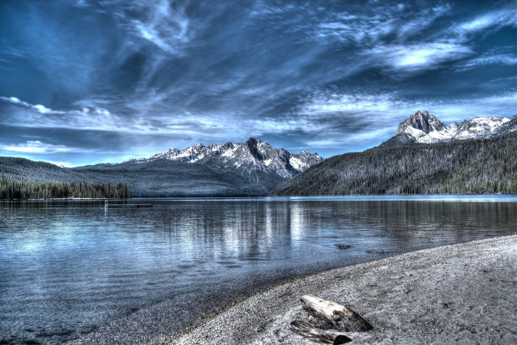 Sky Mountains Scenery Lake HDR Nature wallpaper