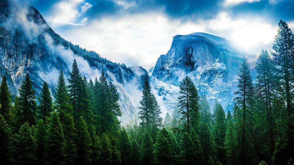 USA Mountains California Trees Yosemite Nevada Sierra Nature wallpaper