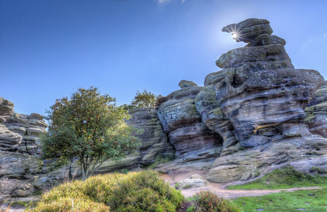 United Kingdom Stones Sky HDR Brimham Rocks Yorkshire Nature wallpaper