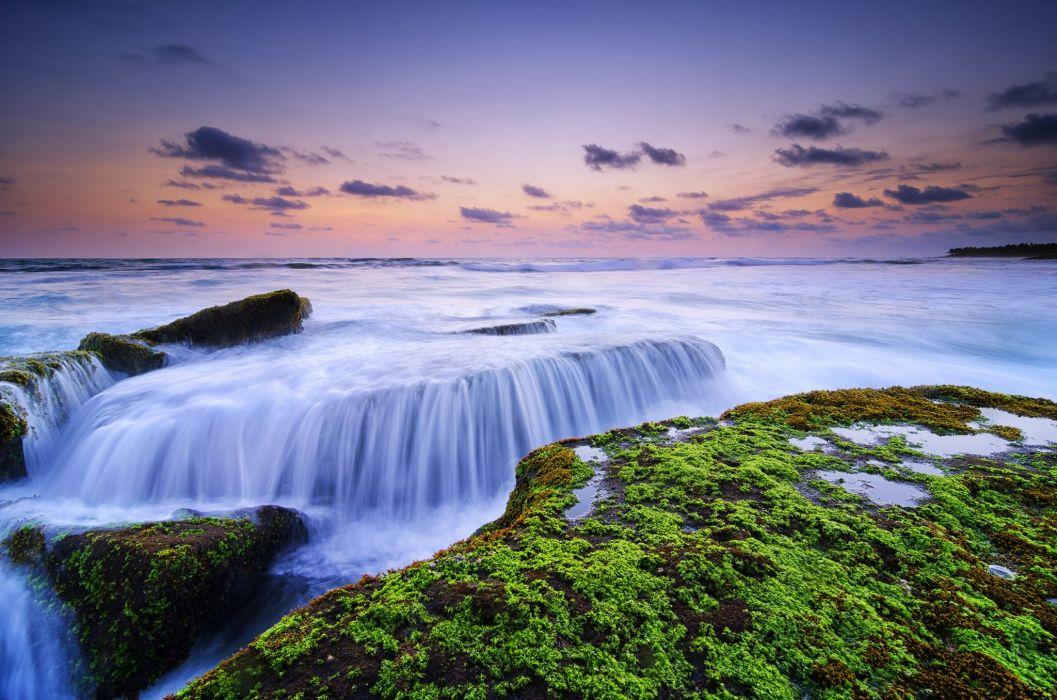 Indonesia Stones Sky Evening Moss HDR Lima Beach Canggu Bali IBali Sea Nature wallpaper