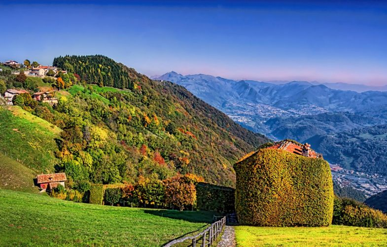 Italy Scenery Mountains Forests Autumn Grass Aviatico Lombardy Nature wallpaper