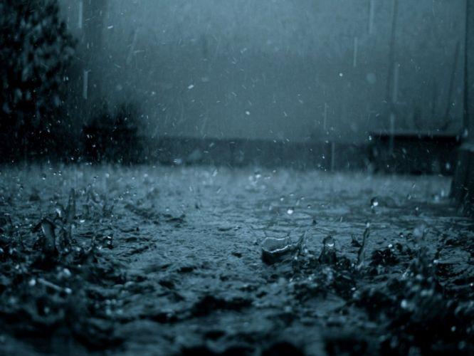 blue rainfall water drops grim cold rain landscapes wallpaper
