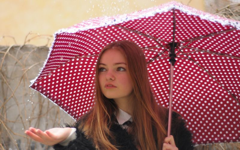 women rain redheads umbrellas polka dots wallpaper