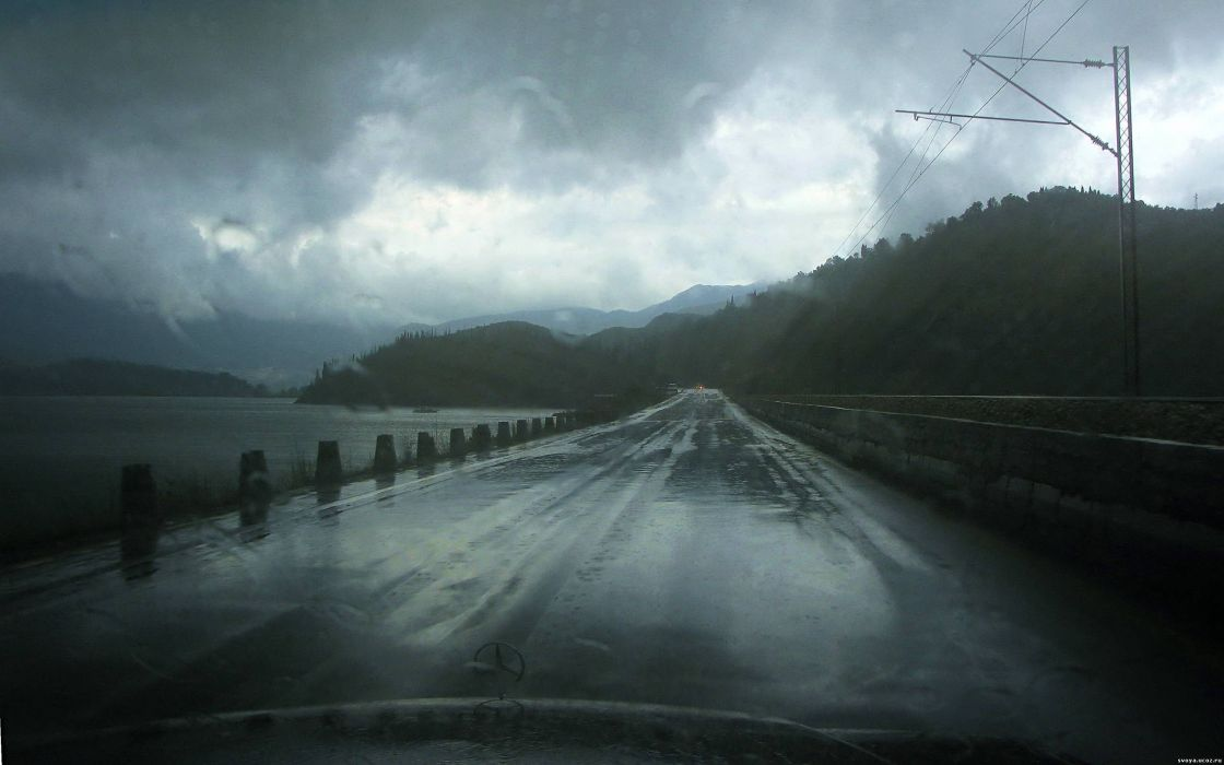 rain roads water drops Roadside Monument wallpaper