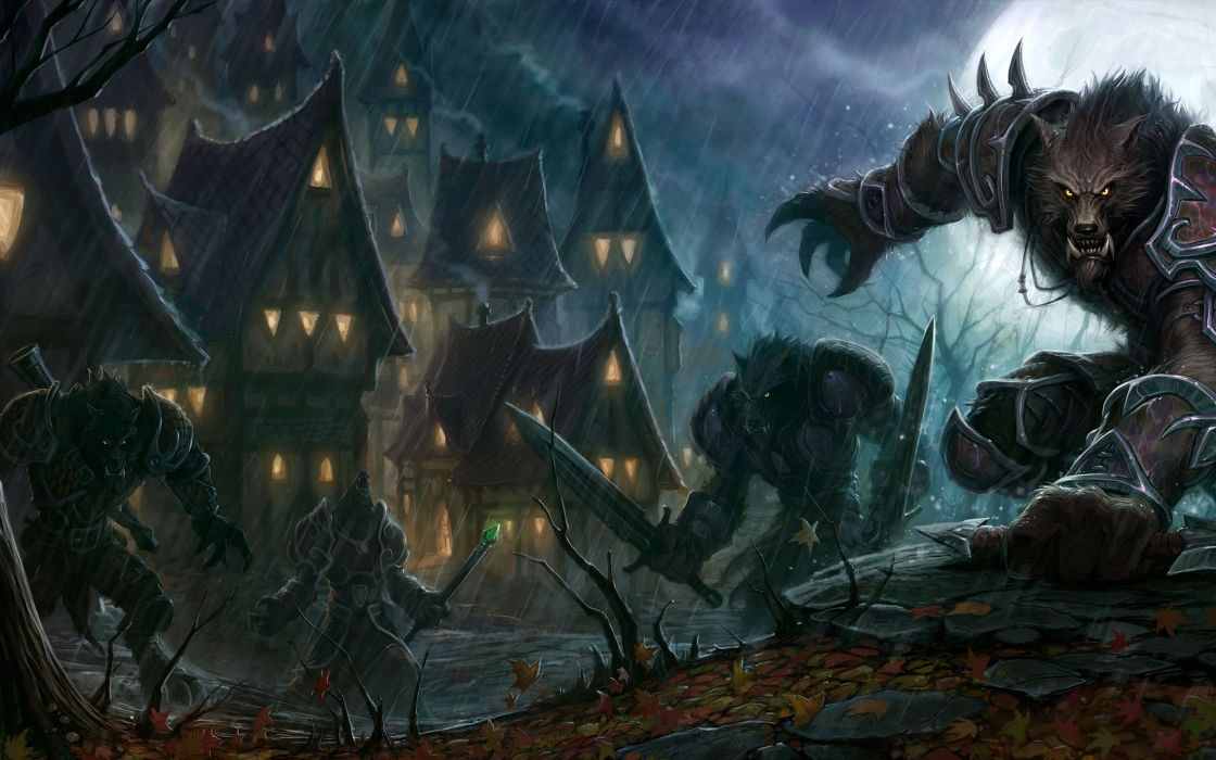 rain World of Warcraft houses moonlight armor swords werewolves wallpaper