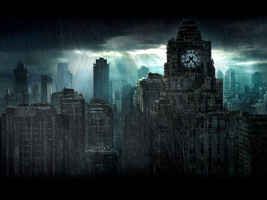 rain overcast city skyline apocalyptic cities clocktowers wallpaper