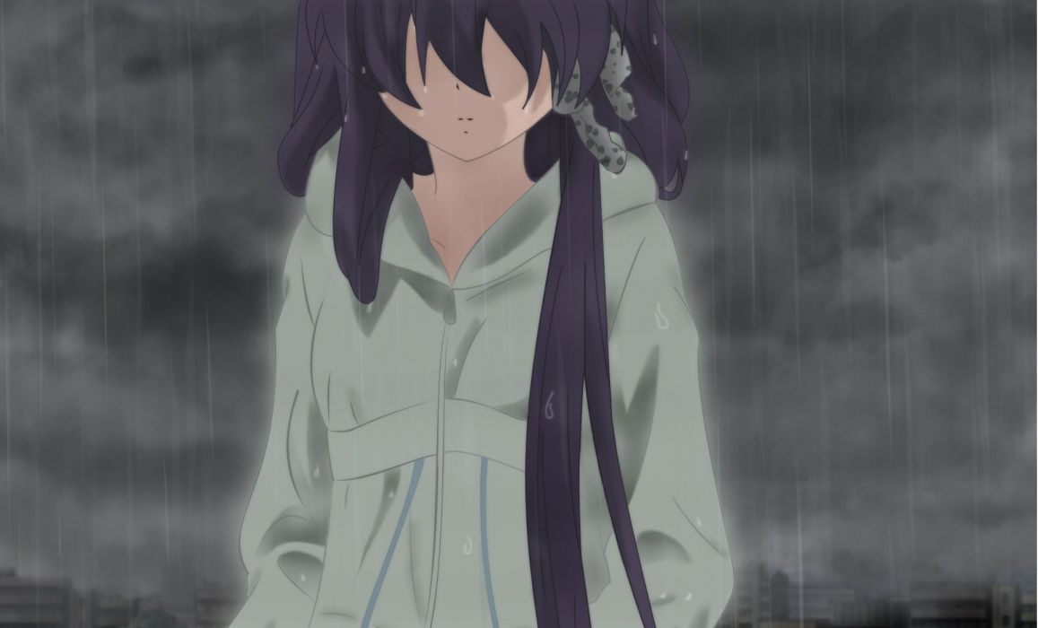 rain Clannad sad depressing Fujibayashi Kyou wallpaper