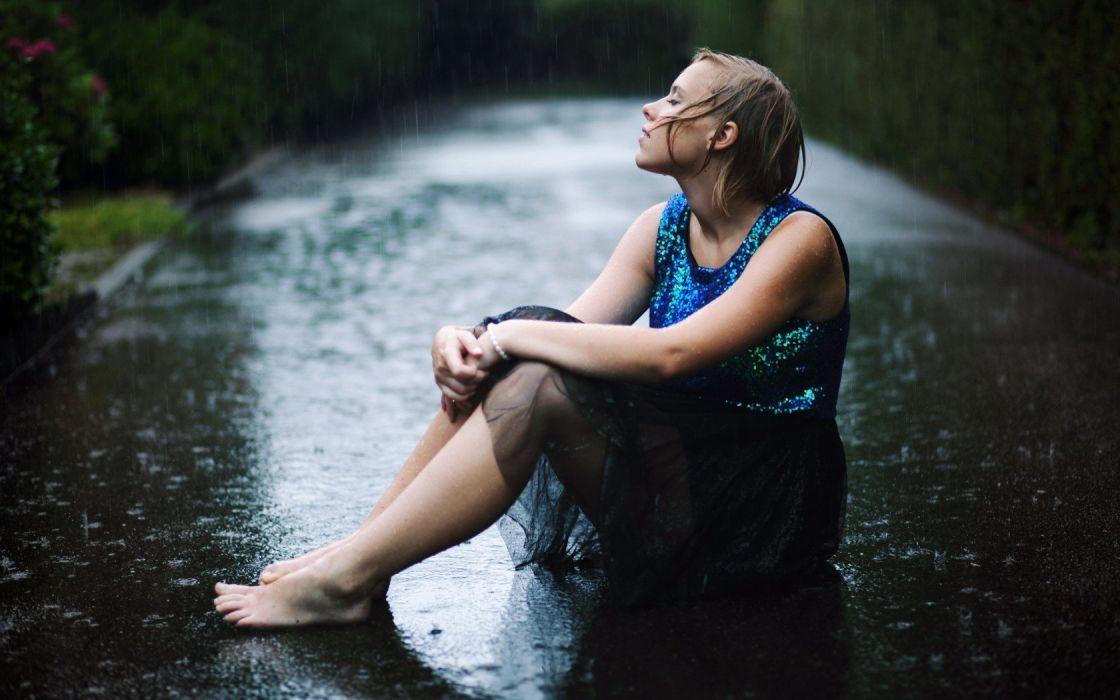 women rain outdoors lonely roads lone woman wallpaper