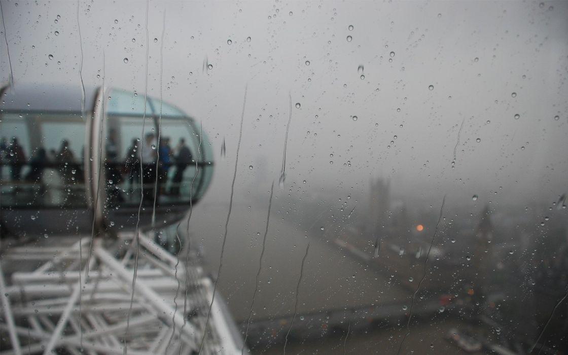cityscapes rain London fog London Eye rain on glass wallpaper