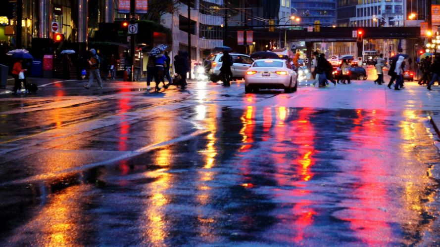 rain wet water drops macro reflections wallpaper