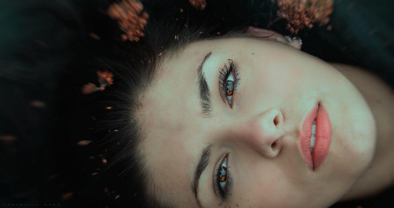 black hair lips looking at viewer fall long hair brown eyes women wallpaper