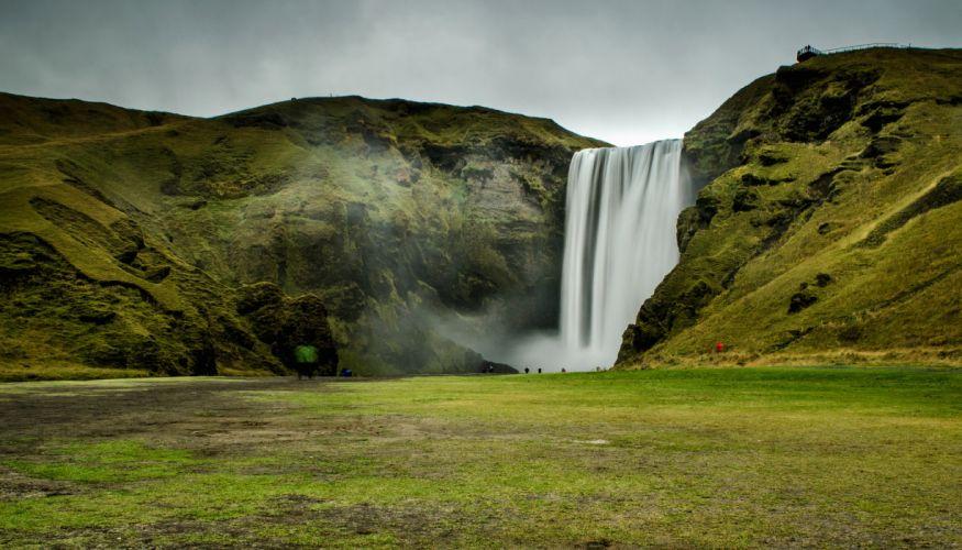 Iceland Waterfalls Moss Skogafoss Nature wallpaper