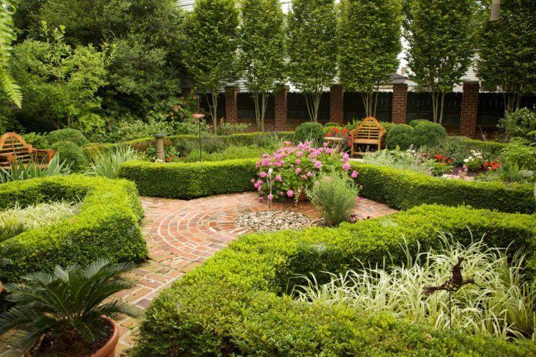 Gardens Shrubs Trees Bench Nature wallpaper